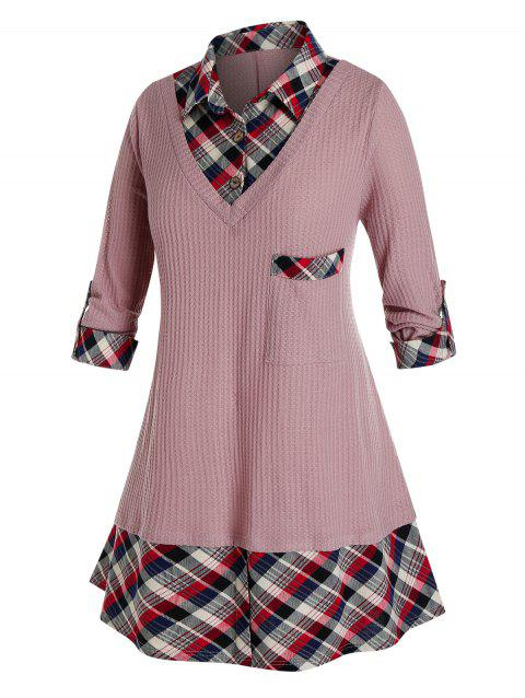Plus Size 2 In 1 Plaid Shirt Collar Sweater
