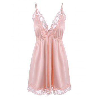 Plus Size Lace Trim Satin Nightdress