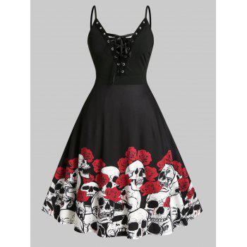 Plus Size Halloween Skull Flower Lace-up Cami Dress