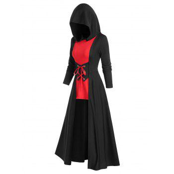 Gothic Bicolor Hooded Lace Up Cloak Dress