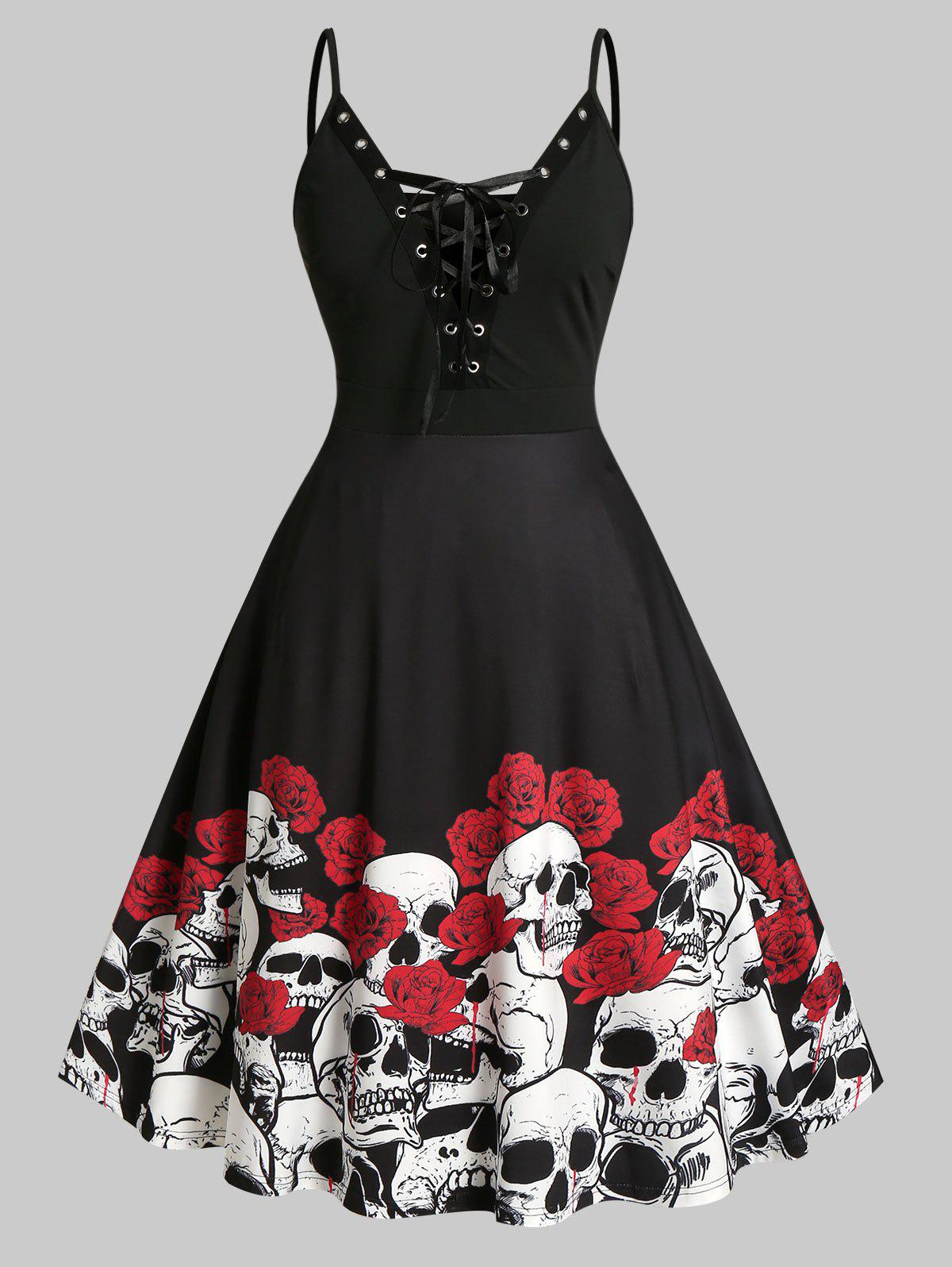 Plus Size Halloween Skull Flower Lace-up Cami Dress - BLACK 3X