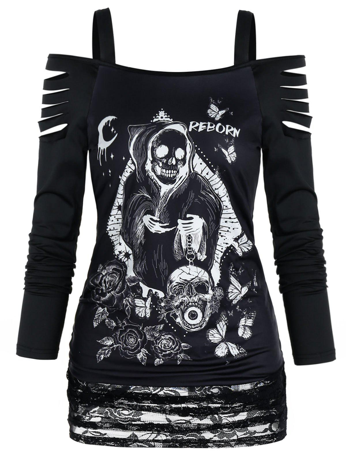 Gothic Death Print Ripped Lace Panel Top - BLACK XL