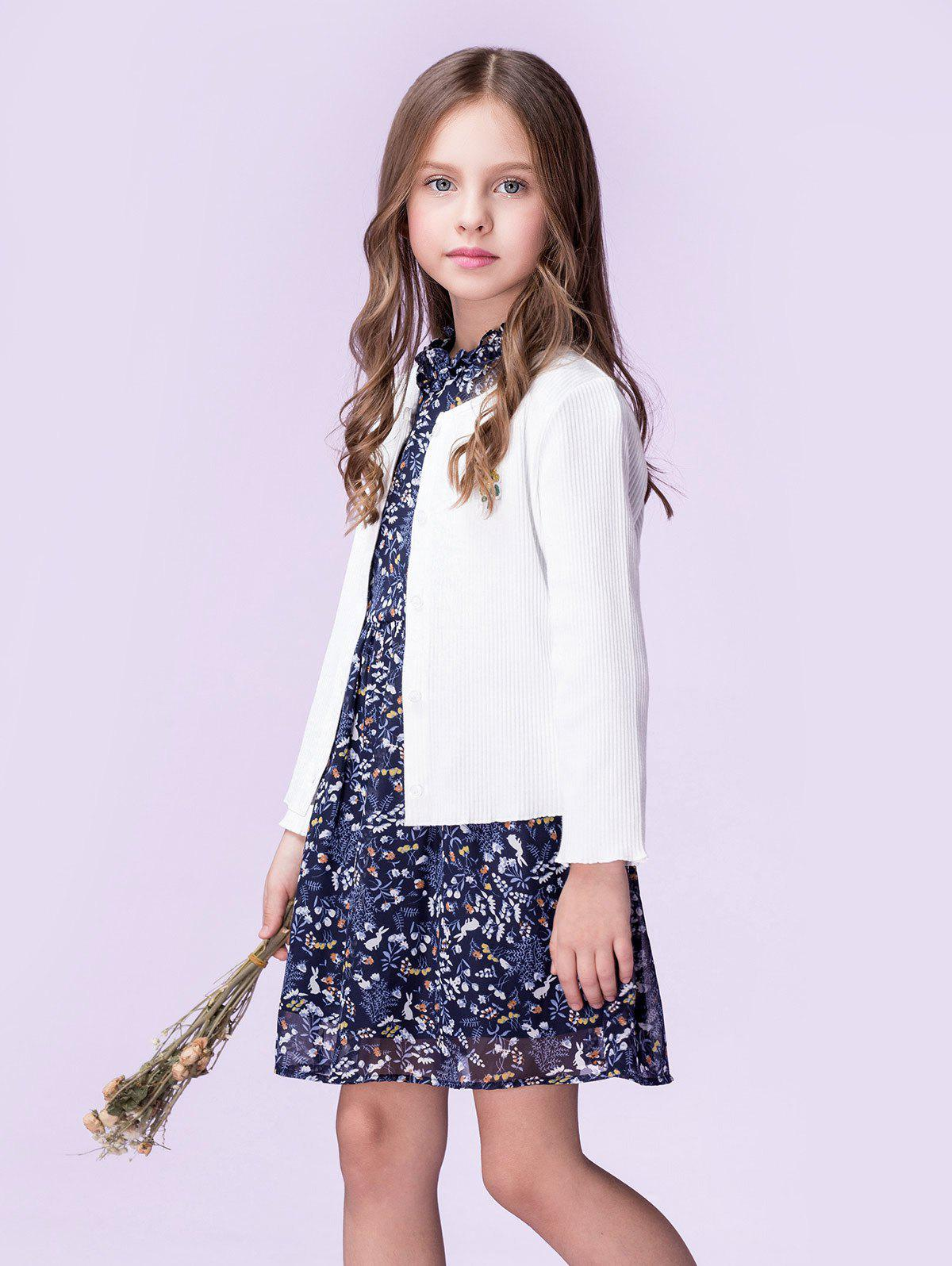 Sunflower Embroidery Design Button Up Girls' Cardigan - WHITE 110