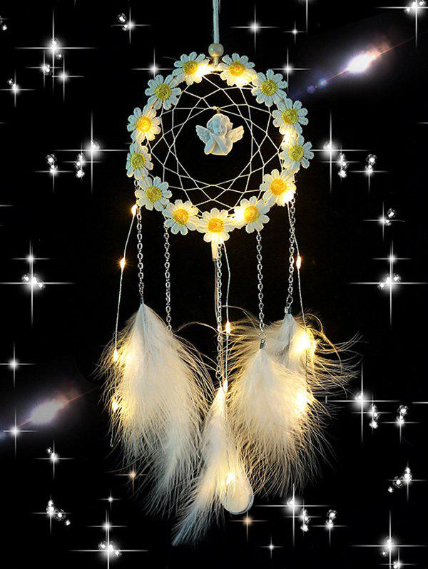 Flower Angle Embellished Feather Dream Catcher - multicolor A WITH LIGHT