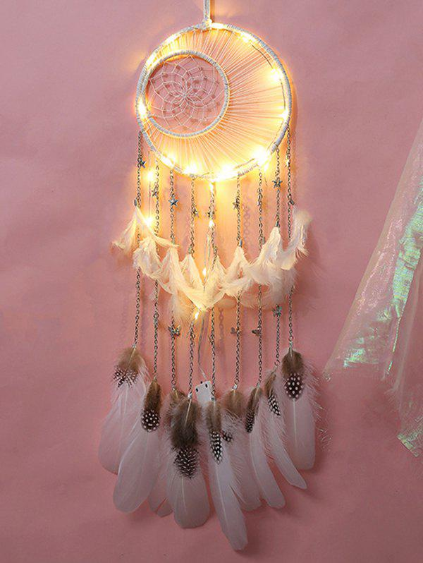 Stars Butterfly Embellished Indian Feather Dream Catcher - WHITE WITH LIGHT