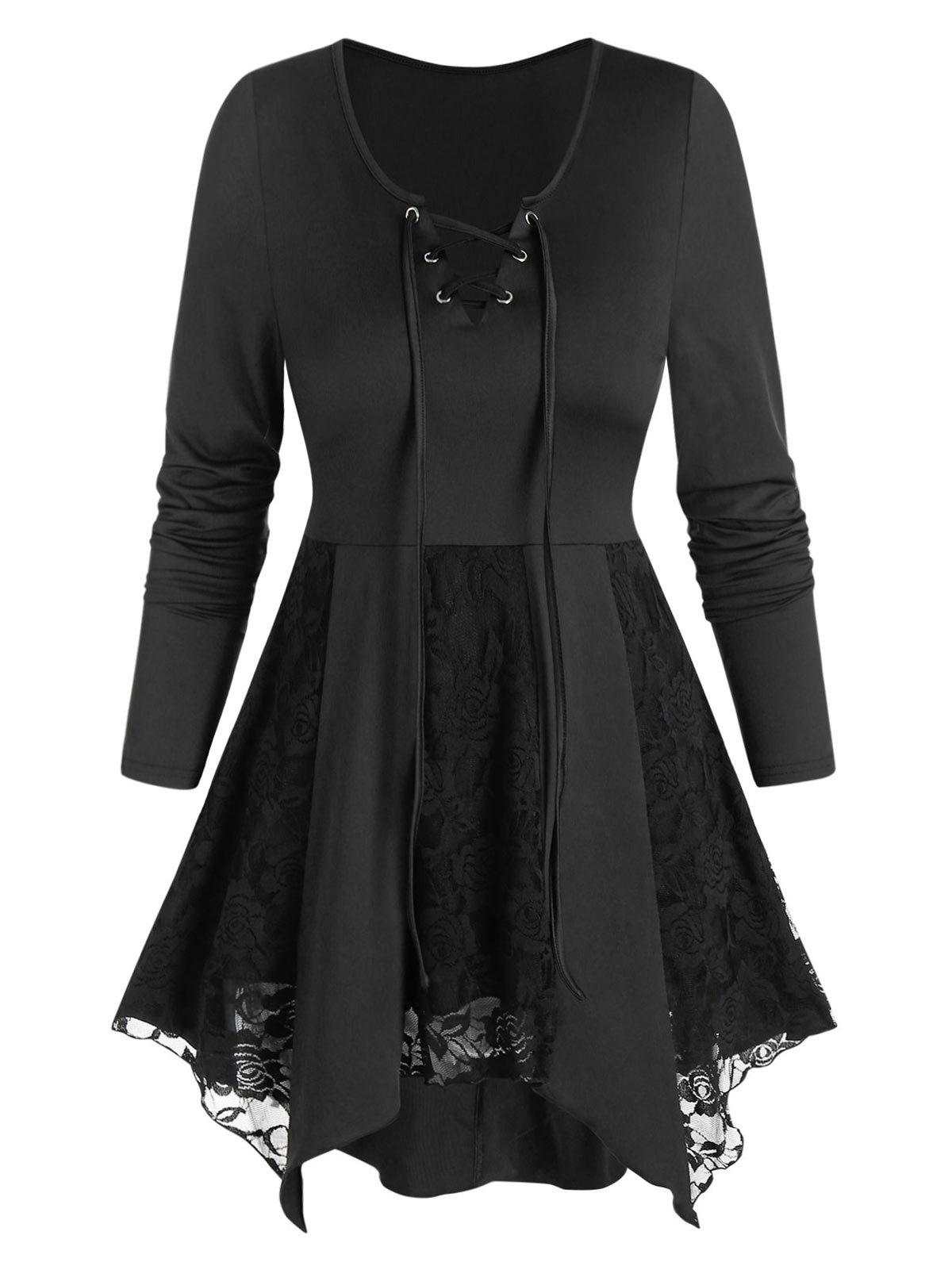 Lace-up Floral Lace Irregular Tunic Top - BLACK L