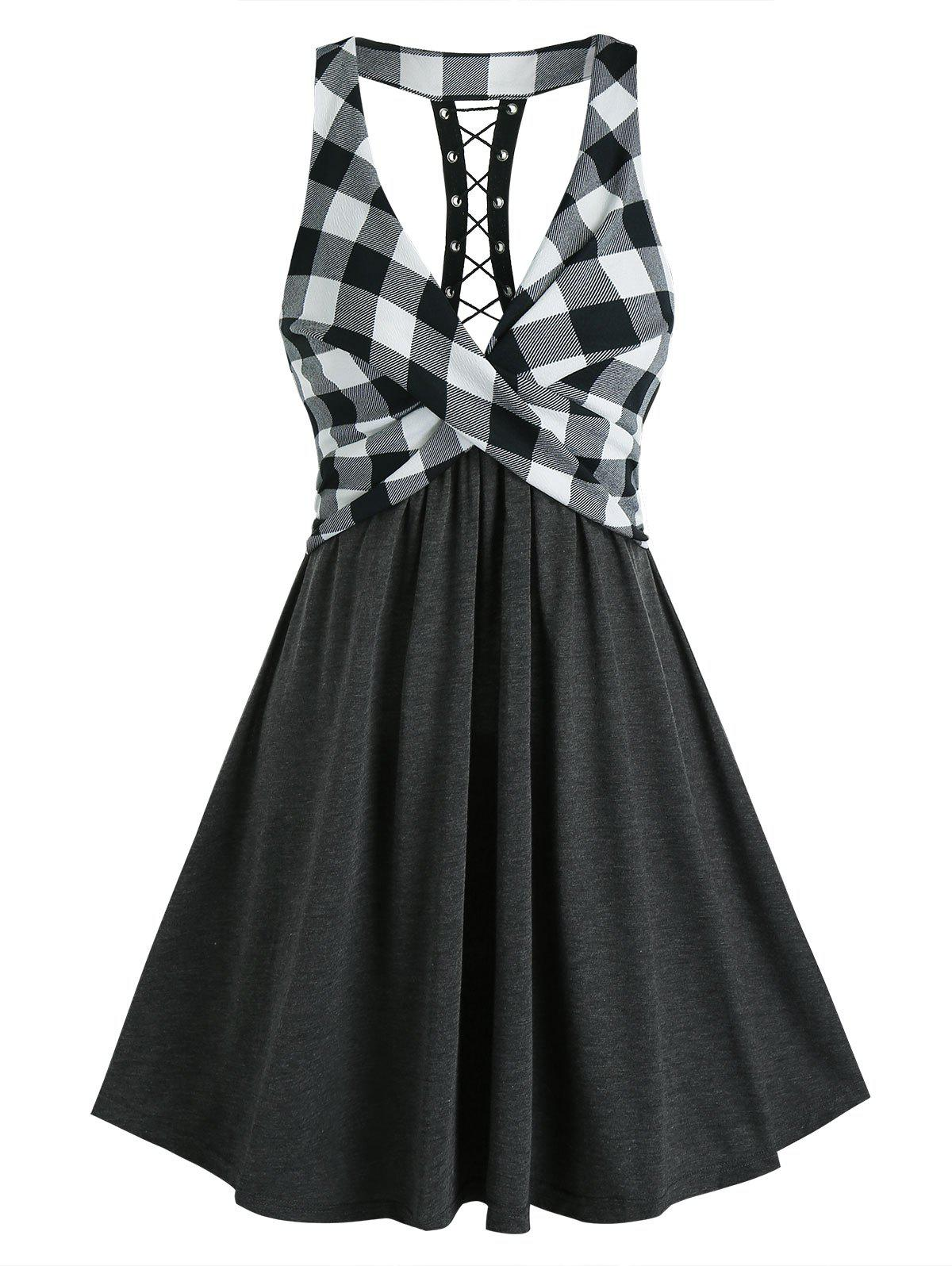 Plaid Print Lace Up Back High Waist Dress - BLACK 2XL