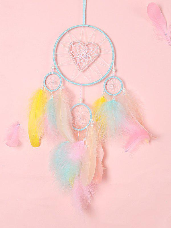 Heart Pattern Colored Feather Dreamcatcher - multicolor A WITHOUT LIGHT