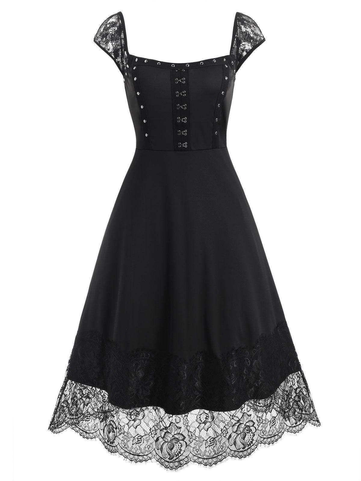 Lace Panel Rivets Hook and Eye Dress - BLACK M