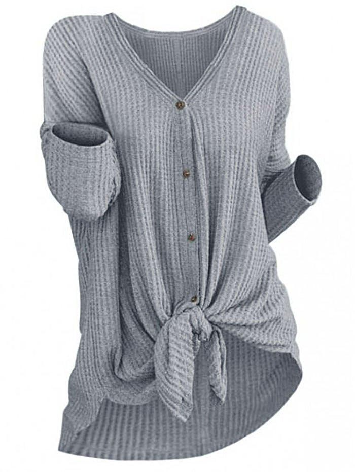Button Front Knot Knitted Top - GRAY CLOUD XL