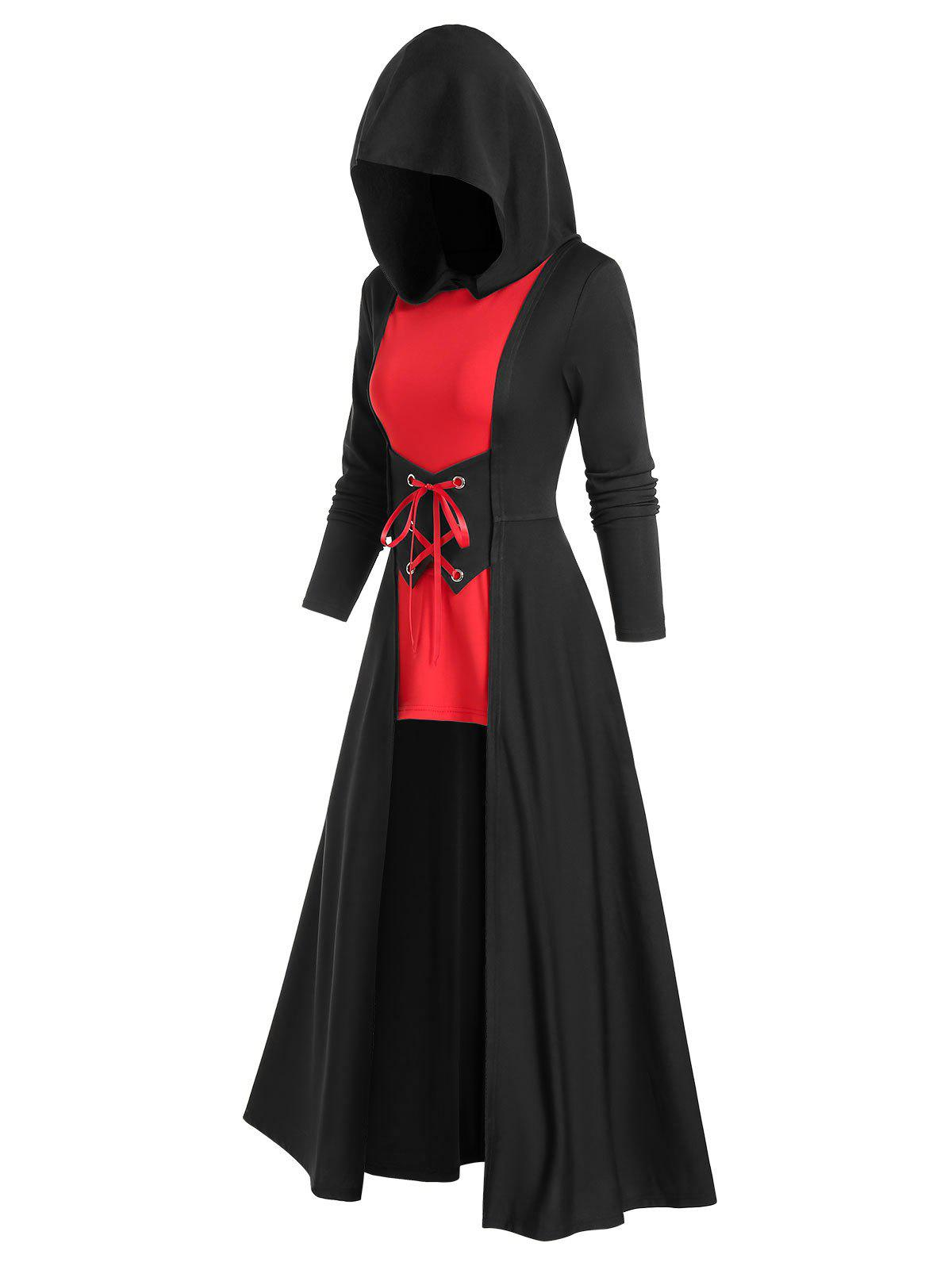 Gothic Bicolor Hooded Lace Up Cloak Dress - BLACK L