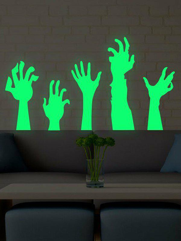 Halloween Luminous Arms Pattern Wall Stickers Set - GREEN REGULAR