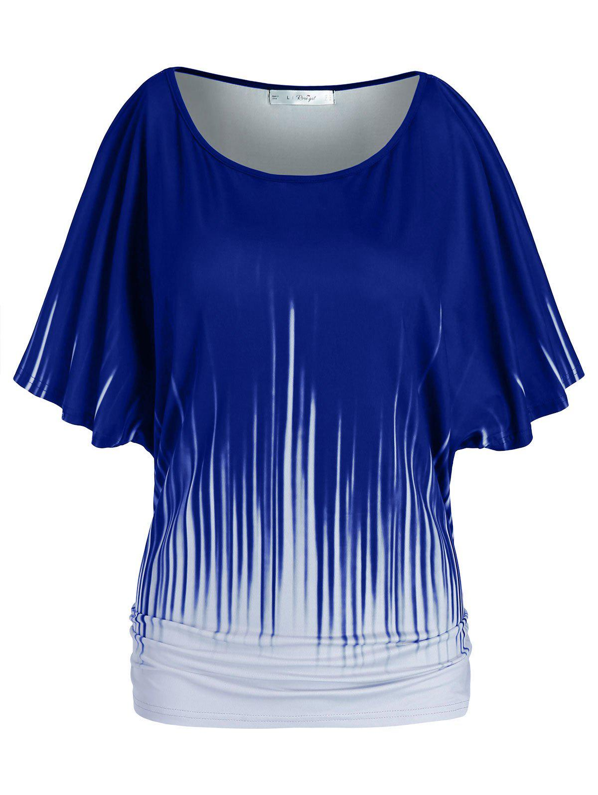 Plus Size Batwing Sleeve Ruched T Shirt - BLUE 2X