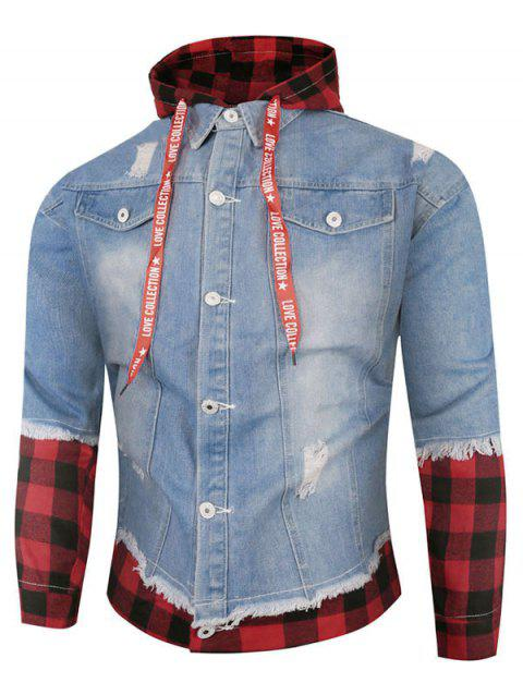Plaid Ripped Doctor Sleeve Hooded Jean Jacket