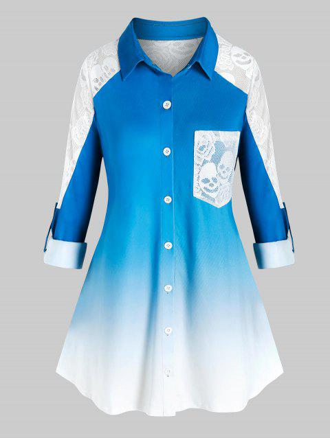 Plus Size Ombre Skull Lace Sheer Roll Up Sleeve Shirt