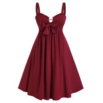 Plus Size Bowknot Ruffled Fit and Flare Dress