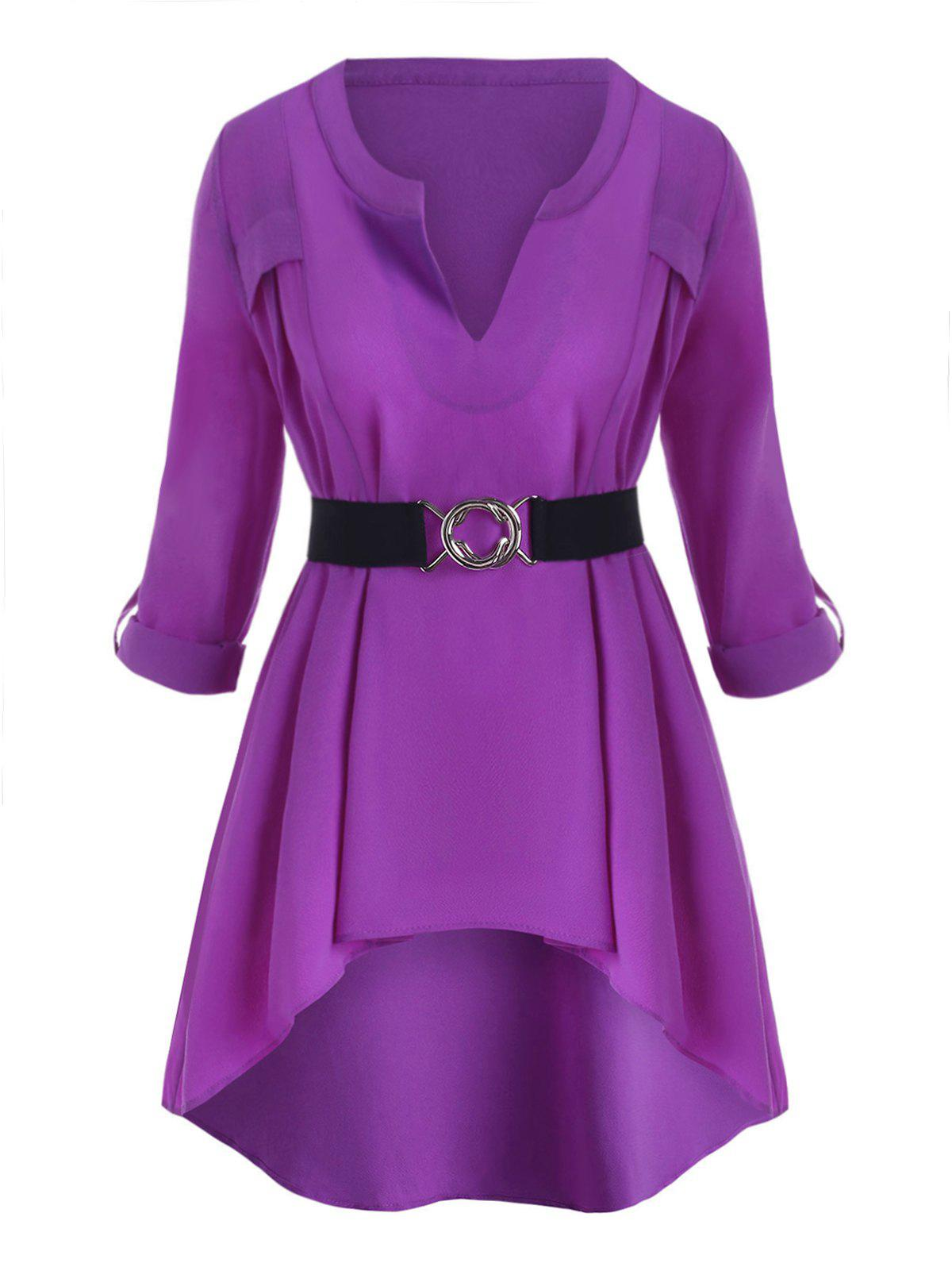 Plus Size Roll Up Sleeve High Low Top - PURPLE 5X