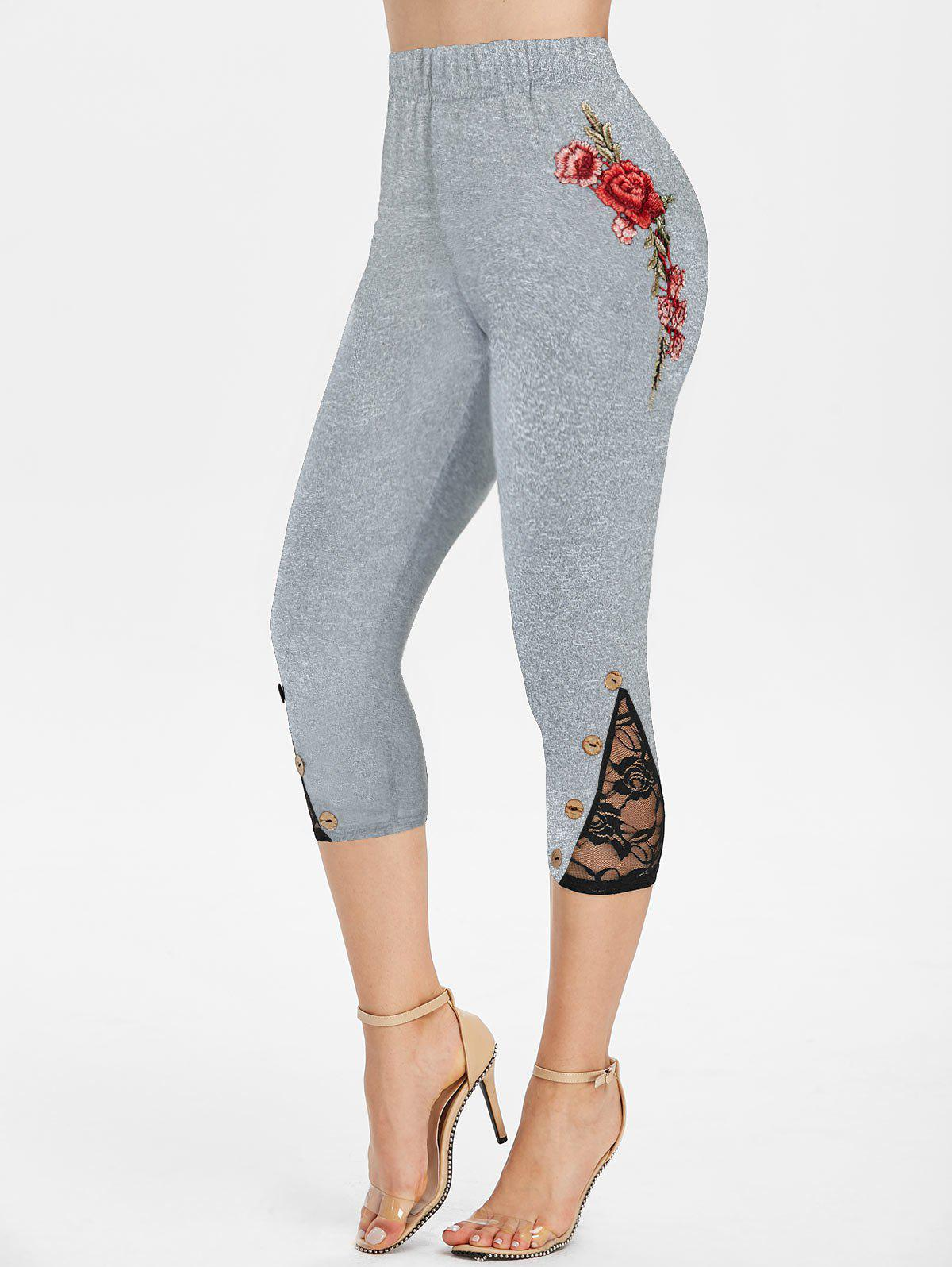 Flower Embroidered Button Embellished Capri Leggings - GRAY 3XL