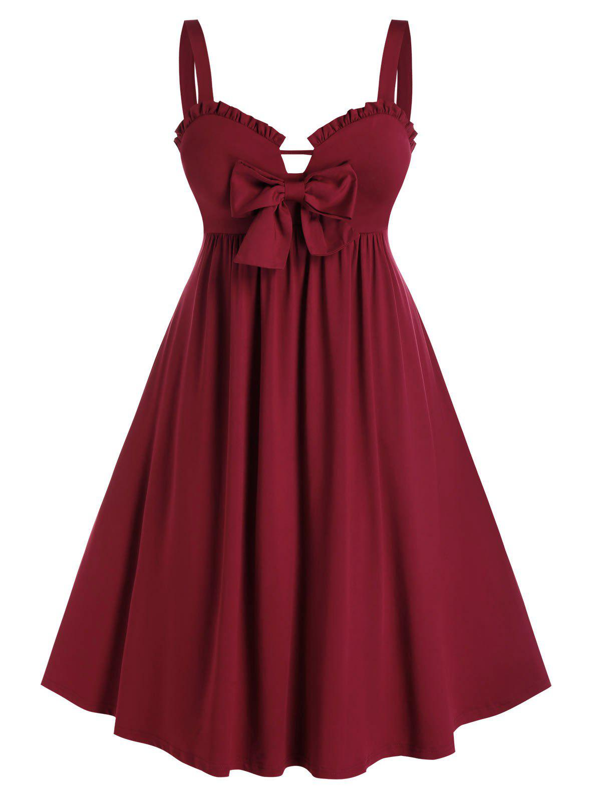 Plus Size Bowknot Ruffled Fit and Flare Dress - RED WINE 1X
