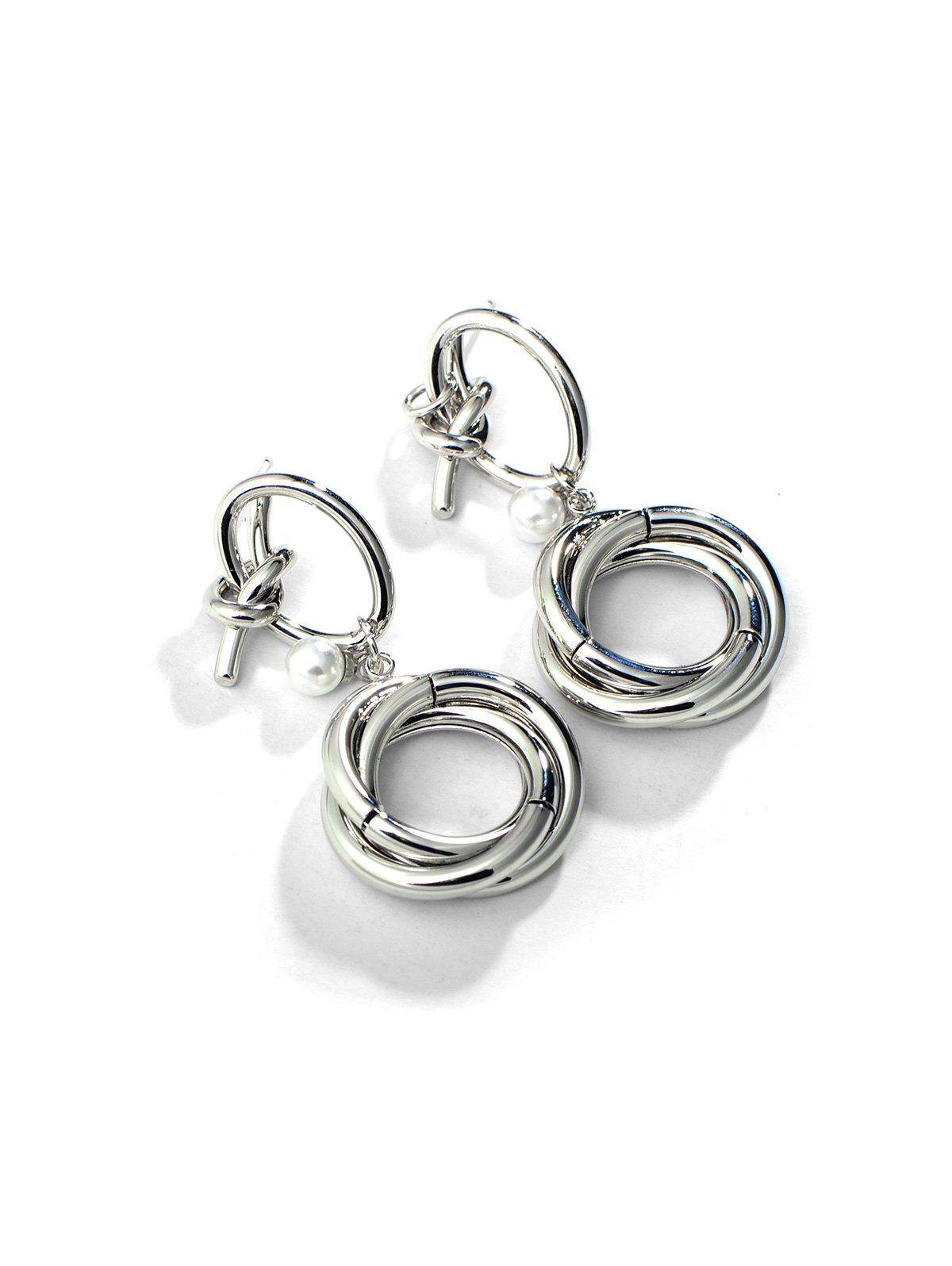 Circles Knot Faux Pearl Copper Drop Earrings - SILVER