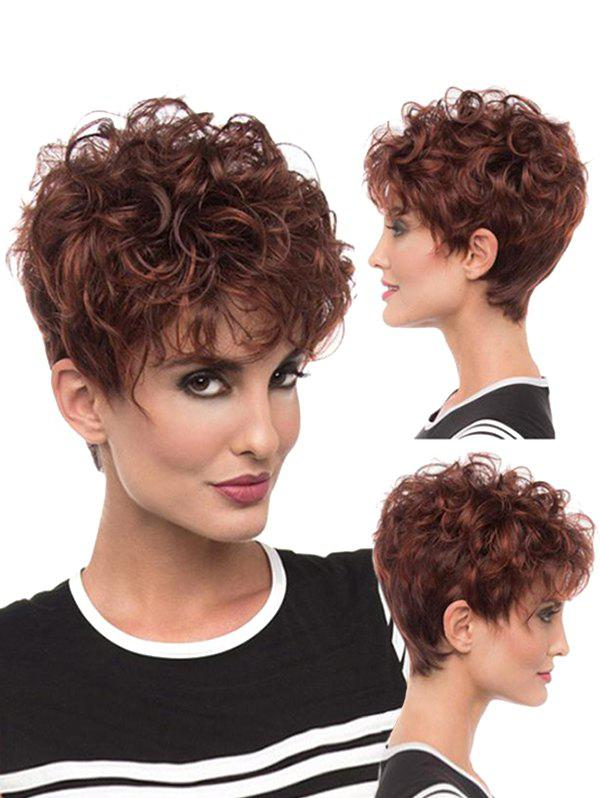 See-through Bang Fluffy Curl Short Synthetic Pixie Wig - MAHOGANY JS-084
