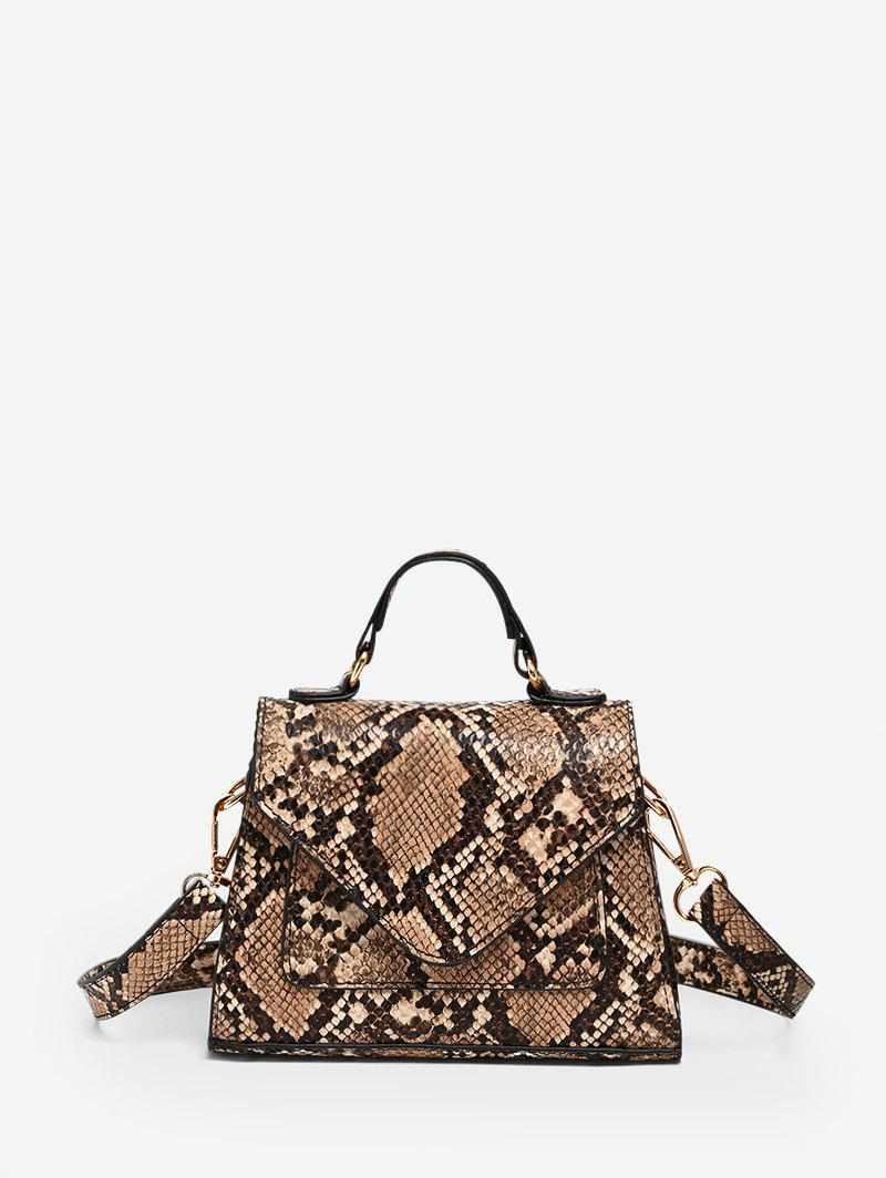Snake Print Mini Top Handle Crossbody Bag - DARK GOLDENROD