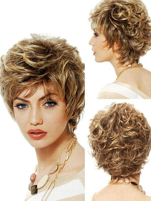 Fluffy Short See-through Bang Curl Synthetic Pixie Wig - ORANGE GOLD JS-092