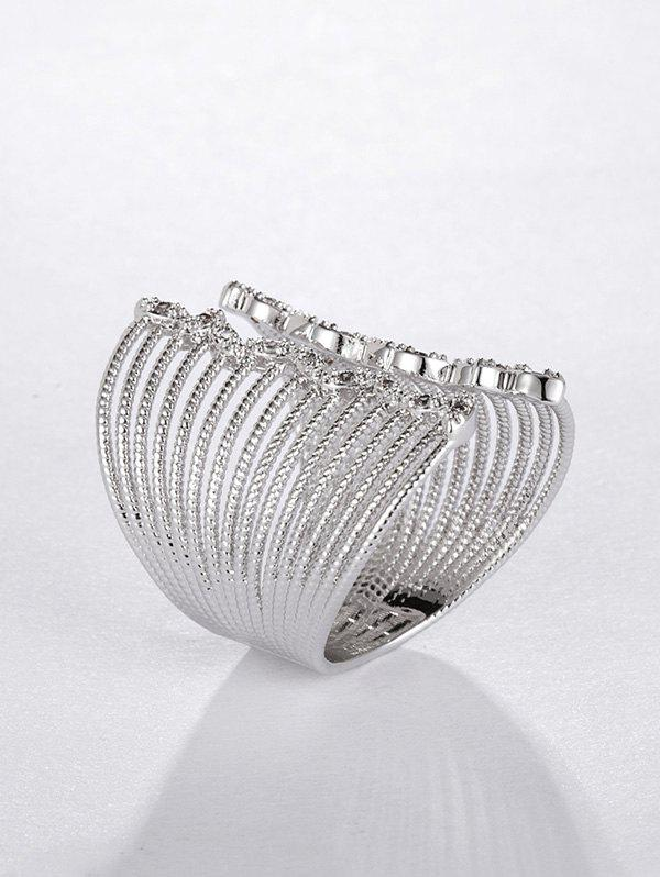 Copper Zircon Hollow Wide Opening Ring - SILVER