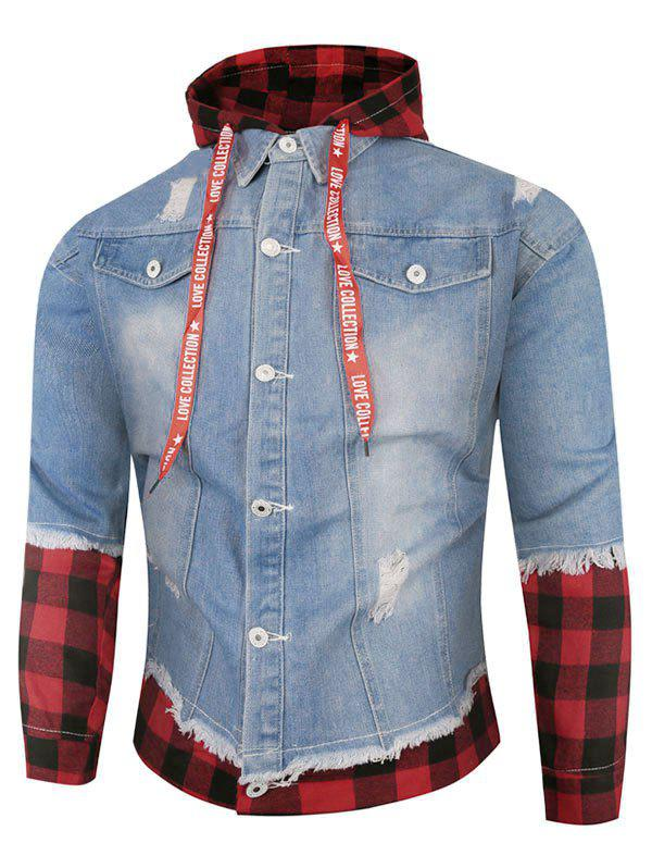 Plaid Ripped Doctor Sleeve Hooded Jean Jacket - LIGHT BLUE L