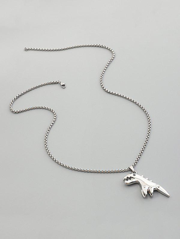 Alloy Chain Dinosaur Pendant Necklace - SILVER