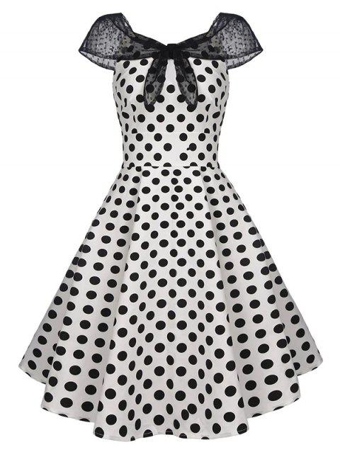 Polka Dot Lace Insert Tied Cap Sleeve Vintage Dress