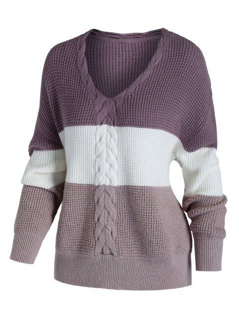 Plus Size Cable Chunky Knit Colorblock Sweater