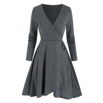 Long Sleeve Heathered Mini Wrap Dress