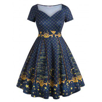 Checked Star Printed Sweetheart Plus Size Dress