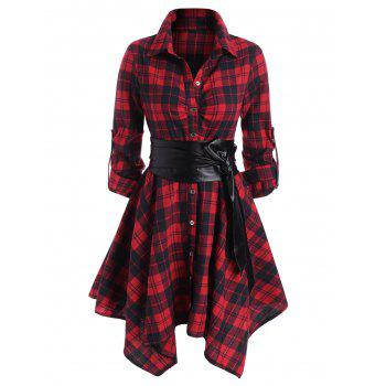 Plaid Belted Roll Up Sleeve Handkerchief Dress