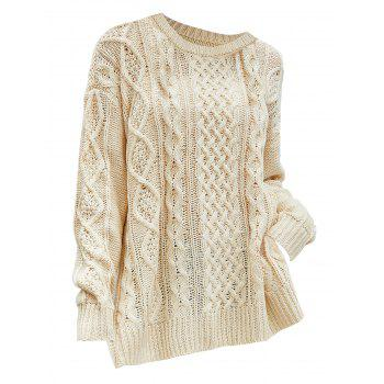 Plus Size Side Slit Chunky Cable Knit Sweater