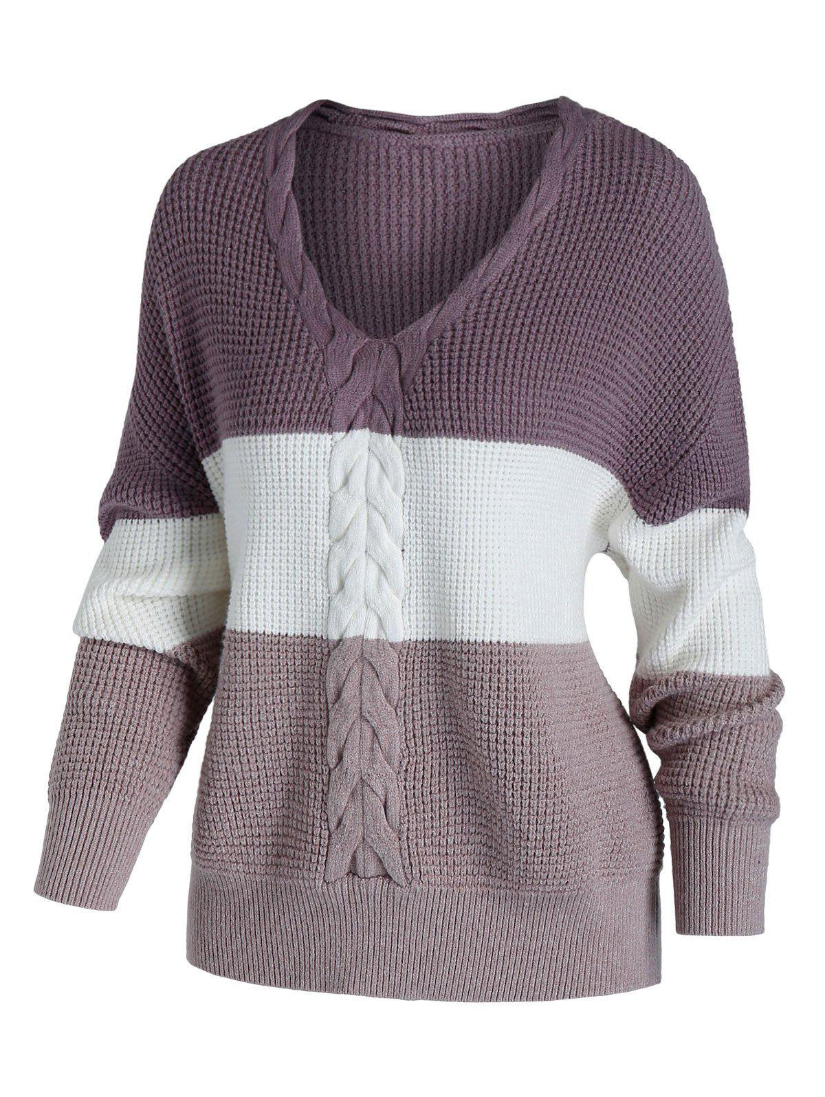 Plus Size Cable Chunky Knit Colorblock Sweater - LIGHT PINK 4X