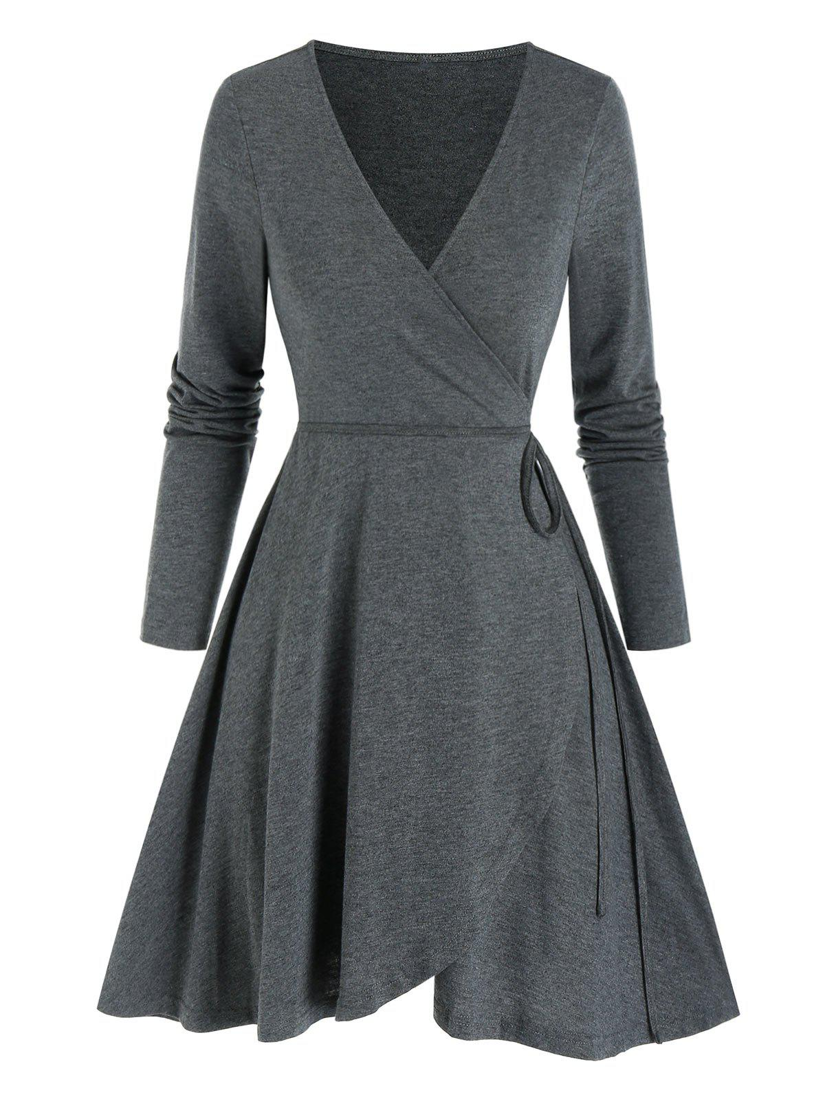 Long Sleeve Heathered Mini Wrap Dress - ASH GRAY S