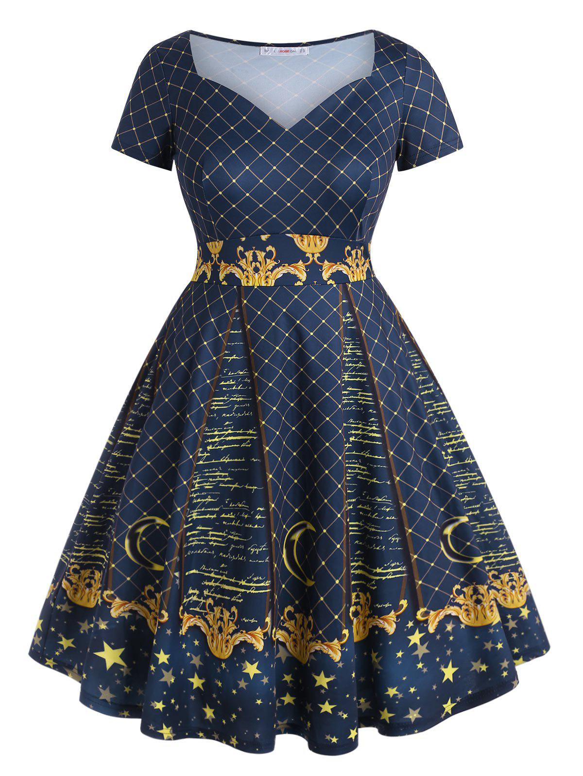 Checked Star Printed Sweetheart Plus Size Dress - DEEP BLUE L