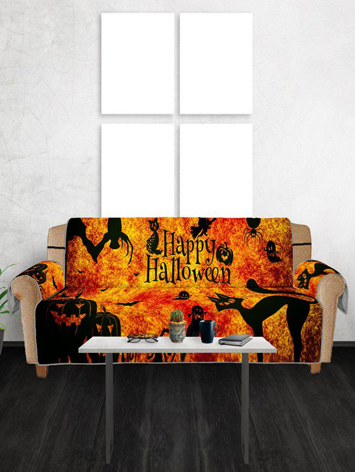 Halloween Pumpkin Cat Patterned Couch Cover - multicolor THREE SEATS
