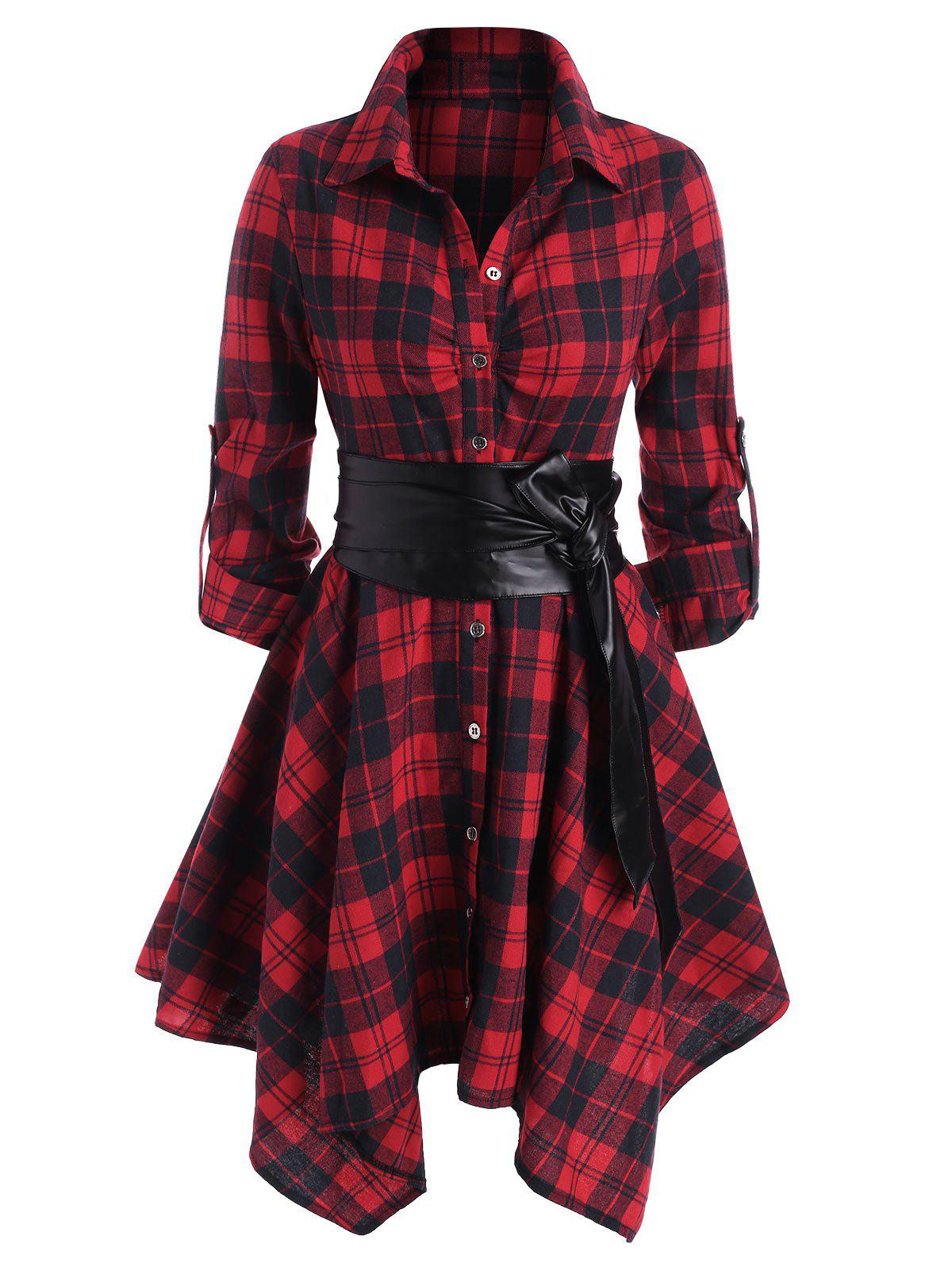 Plaid Belted Roll Up Sleeve Handkerchief Dress - RED L