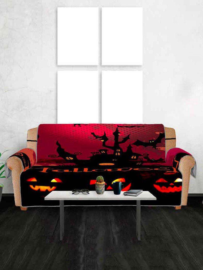 Halloween Night Castle Bat Pattern Couch Cover - multicolor THREE SEATS