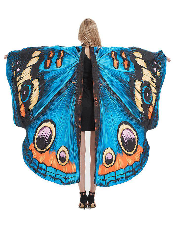 Halloween Party Cosplay Butterfly Wing Patterned Decorative Cape - multicolor A 168*135CM