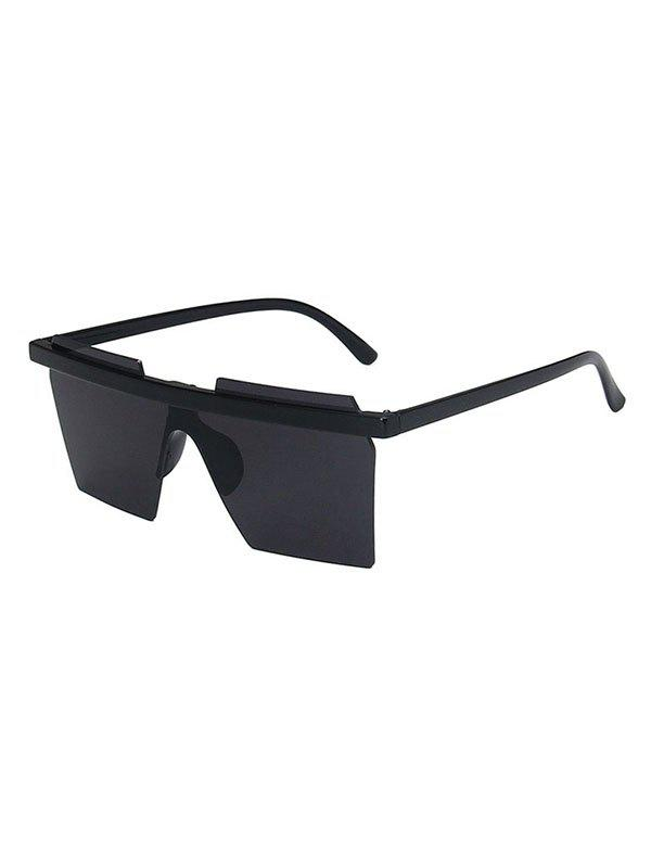 Rimless Geometric Shield Sunglasses - BLACK