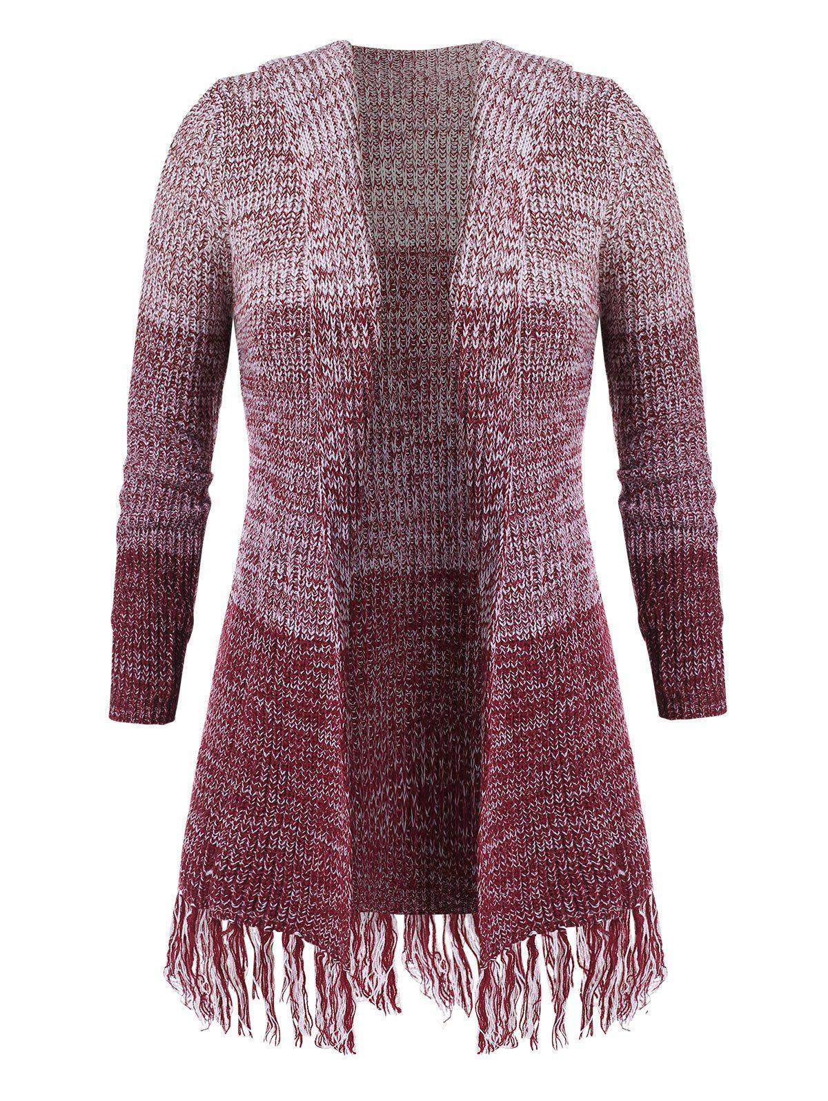 Plus Size Open Front Fringed Cardigan - DEEP RED L