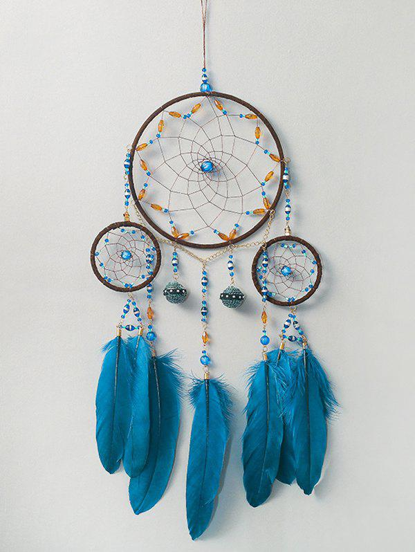 Feather Fringe Beads Handmade Hanging Dreamcatcher - PEACOCK BLUE