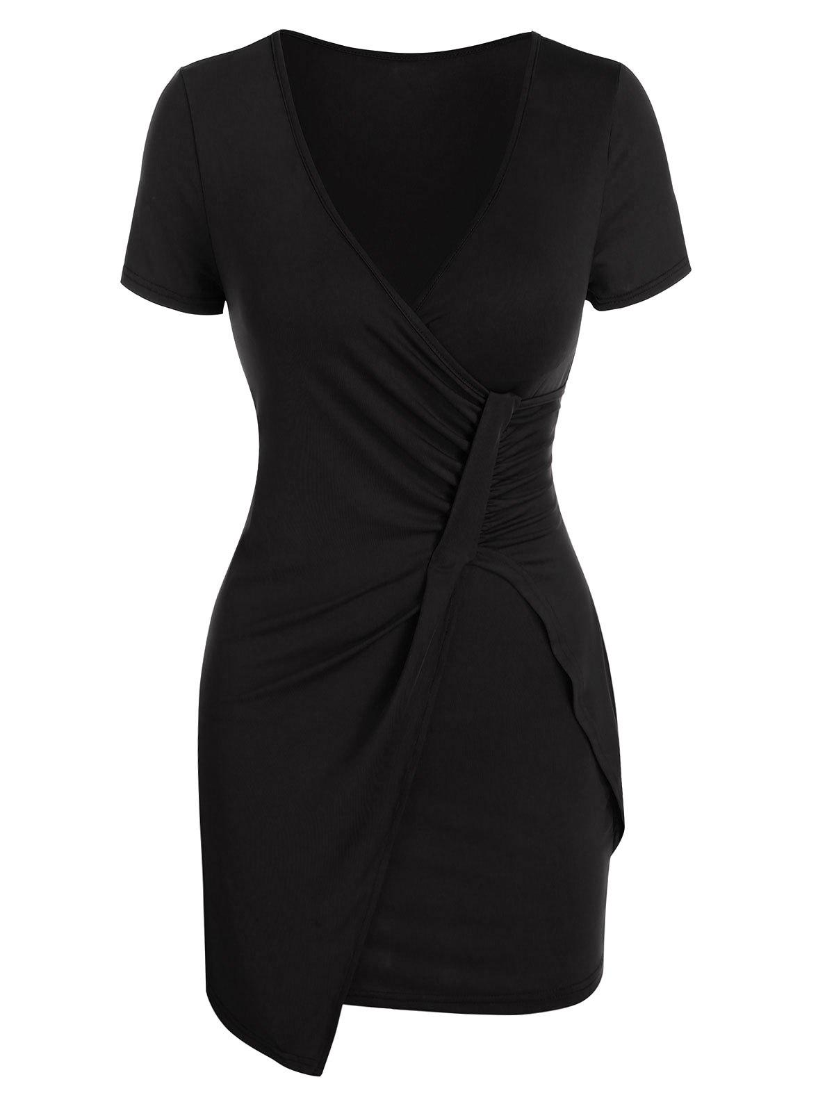 Plunge Neck Ruched Asymmetric Sheath Dress - BLACK L