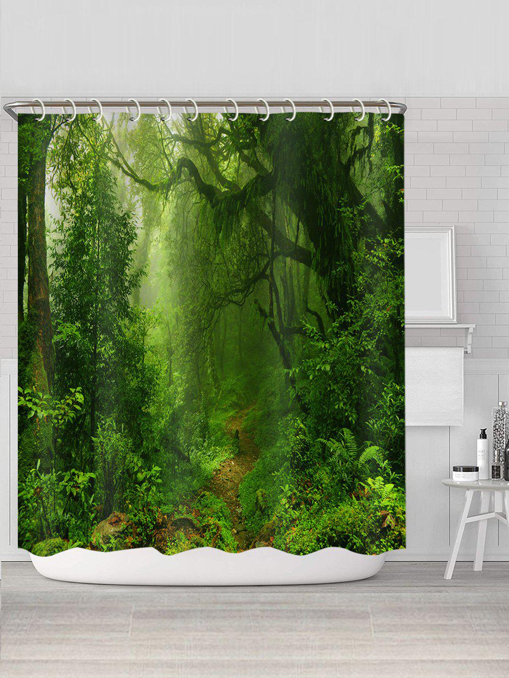 3D Digital Printing Forest Trail Waterproof Shower Curtain - multicolor W71 X L71 INCH