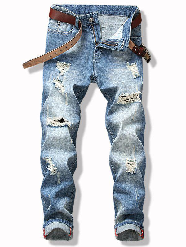 Ripped Scratch Lounge Straight Denim Pants - BLUE 30