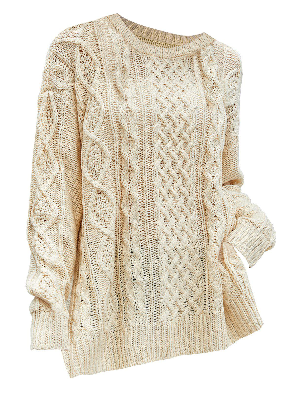 Plus Size Side Slit Chunky Cable Knit Sweater - LIGHT YELLOW XL